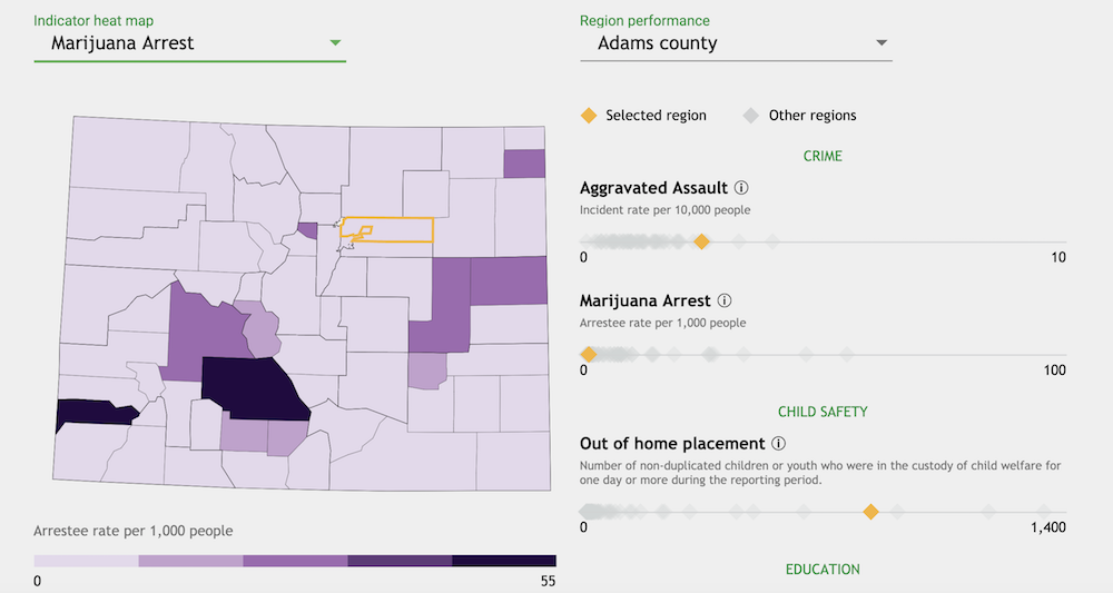 Screenshot Of Colorado Statewide Youth Development Plan Dashboard