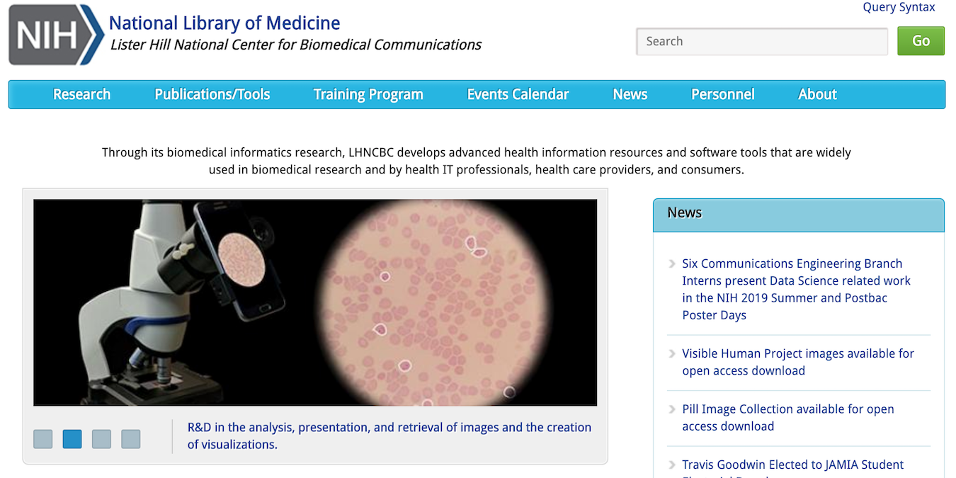Screenshot of Lister Hill National Center for Biomedical Communications website