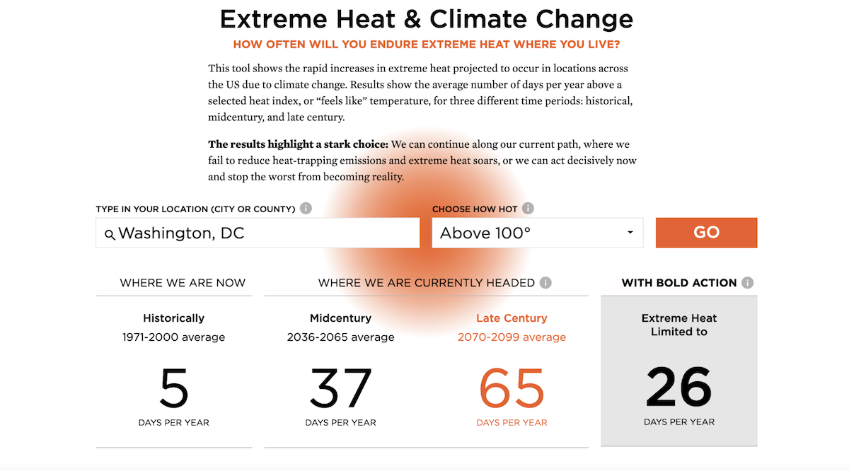Screenshot of Extreme Heat & Climate Change Application