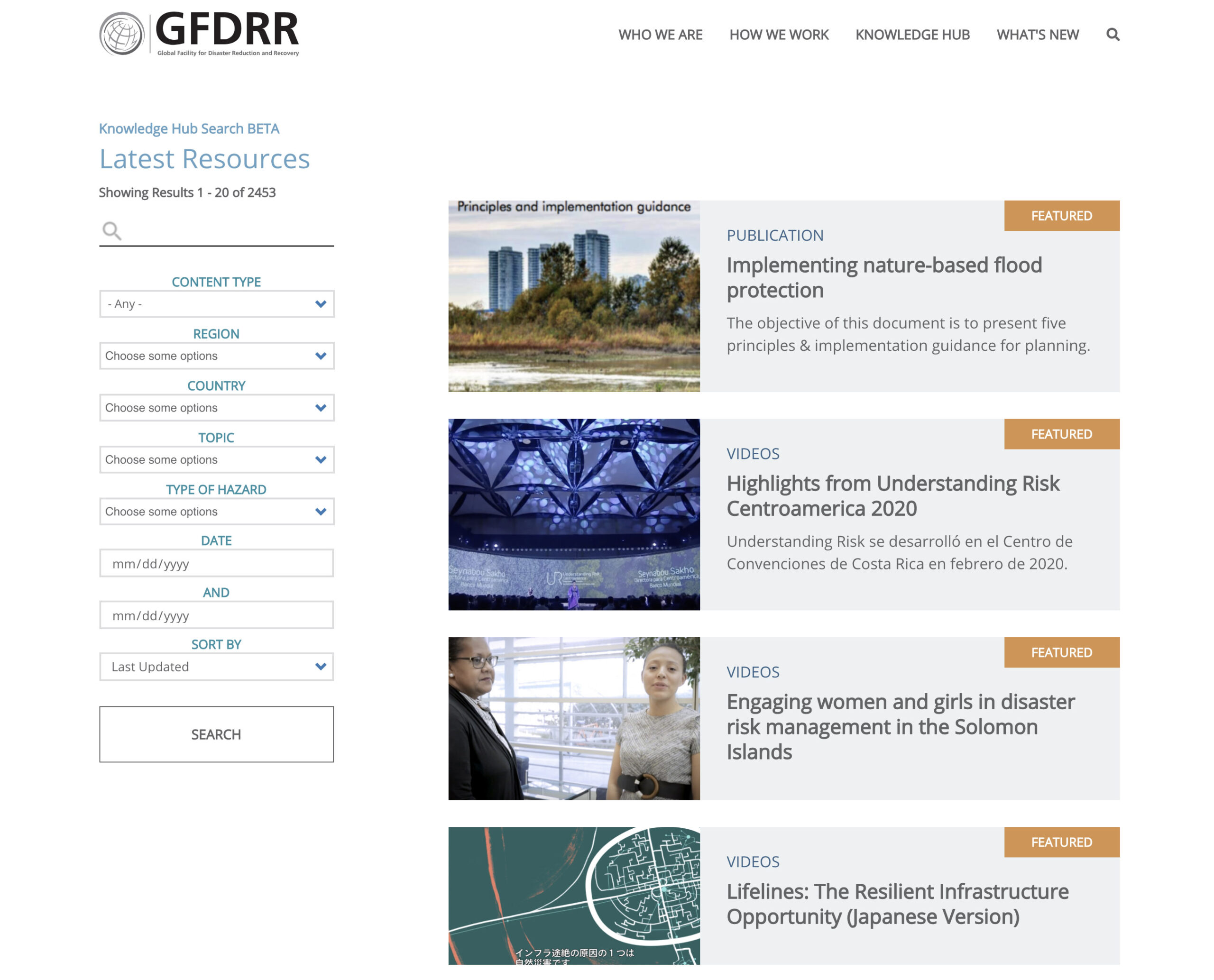 Knowledge Hub search results page on GFDRR website