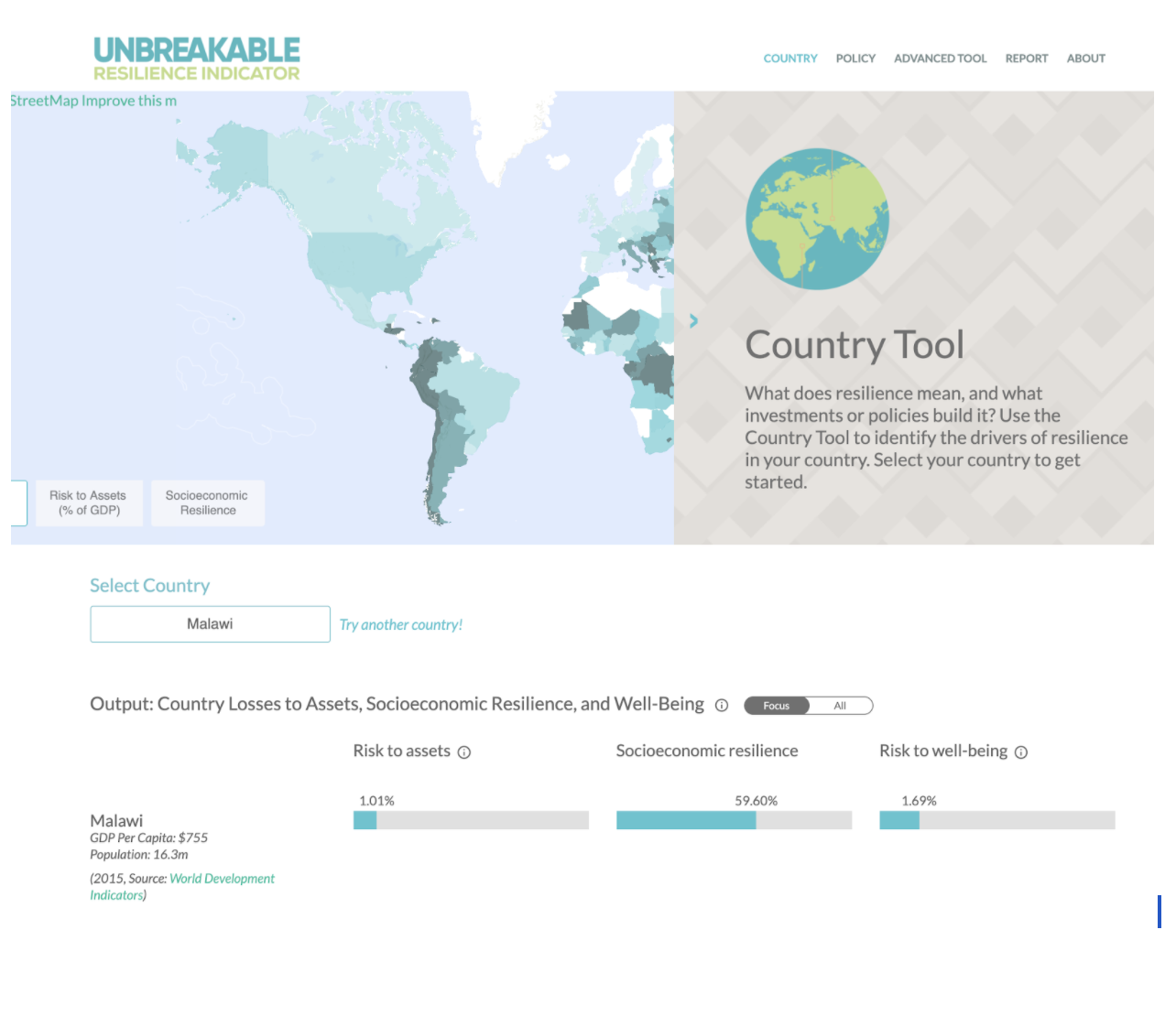 Landing page image of the World Bank country tool showing losses to assets, socioeconomic resilience and well being.