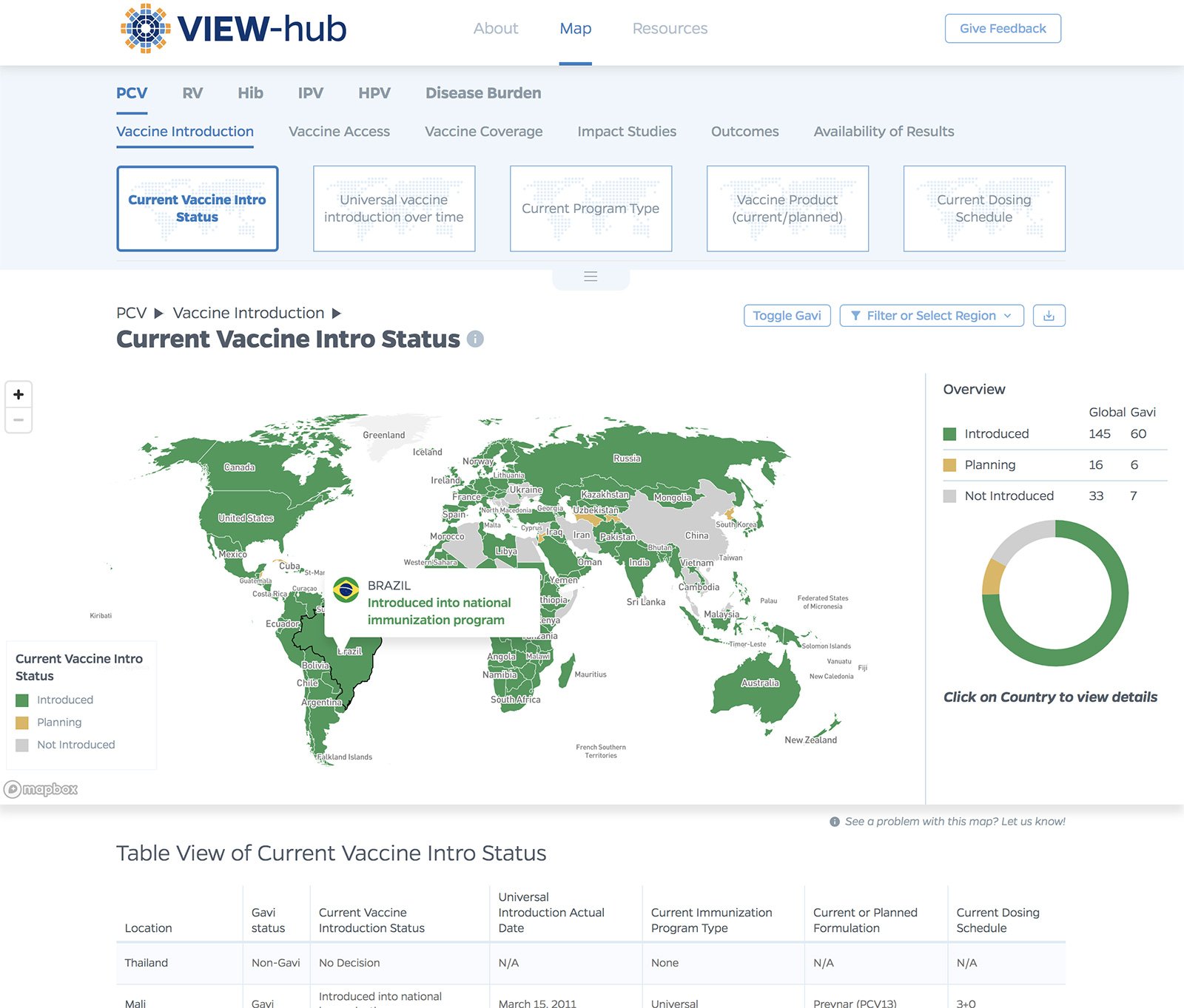 VIEW-hub.org, an Interactive mapping platform for Vaccine data, bu Johns Hopkins University